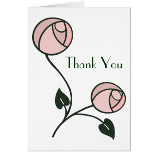 Art Nouveau Rose Thank You Card