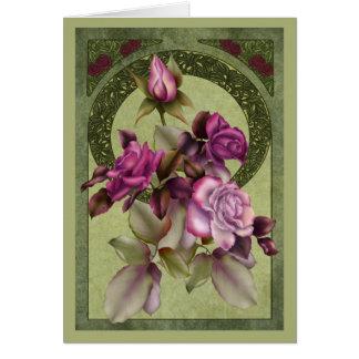 Art Nouveau Roses Greeting Card