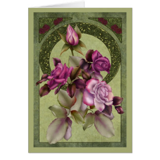 Art Nouveau Roses Greeting Card