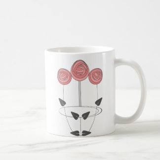 Art Nouveau Roses in Pink and Grey Coffee Mug