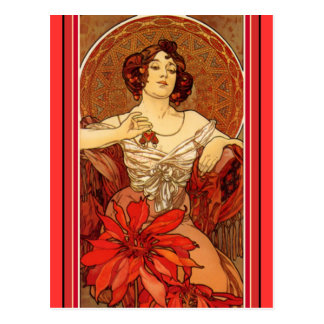 "Art Nouveau ~ ""Ruby - The Precious Stones"" Postcard"