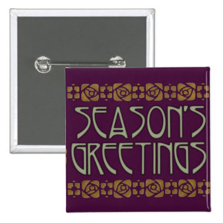 Art Nouveau Season s Greetings Pinback Buttons
