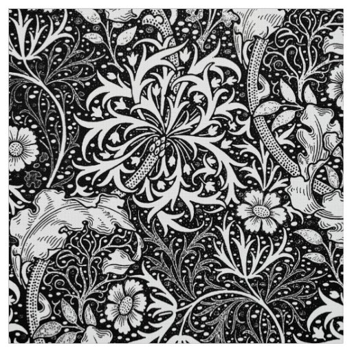 Art nouveau seaweed floral black and white fabric