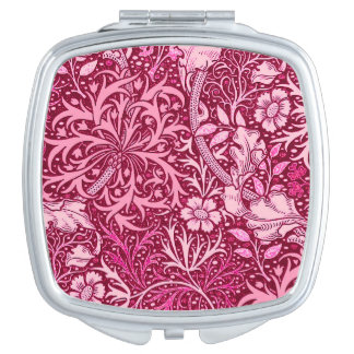 Art Nouveau Seaweed Floral, Burgundy and Coral Pin Makeup Mirror
