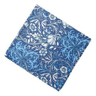 Art Nouveau Seaweed Floral, Cobalt Blue and White Bandana