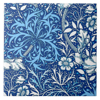 Art Nouveau Seaweed Floral, Cobalt Blue and White Large Square Tile