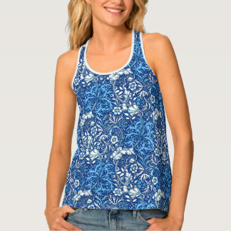 Art Nouveau Seaweed Floral, Cobalt Blue and White Singlet