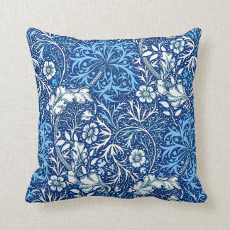 Art Nouveau Seaweed Floral, Cobalt Blue and White Throw Pillow