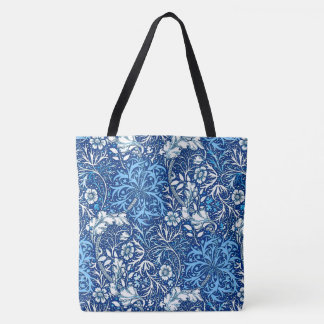 Art Nouveau Seaweed Floral, Cobalt Blue and White Tote Bag