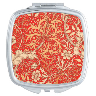 Art Nouveau Seaweed Floral, Deep Coral Orange Mirrors For Makeup