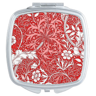Art Nouveau Seaweed Floral, Deep Red and White Compact Mirrors