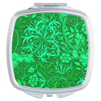 Art Nouveau Seaweed Floral, Emerald Green Travel Mirror