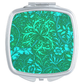 Art Nouveau Seaweed Floral, Turquoise and Aqua Makeup Mirrors