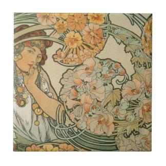 art nouveau small square tile
