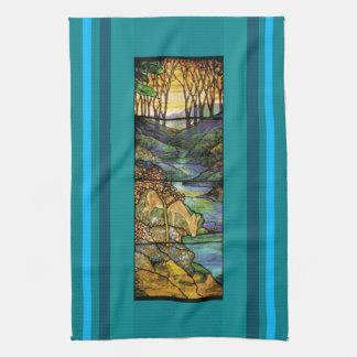 Art Nouveau Stained Glass Deer Creek Kitchen Towel