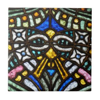 Art Nouveau stained glass face Ceramic Tile