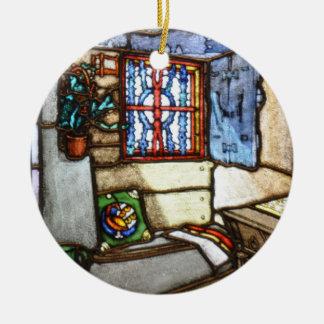 Art Nouveau Stained Glass Windows Ceramic Ornament