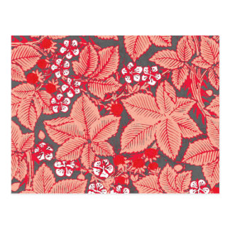 Art Nouveau Strawberries and Leaves, Coral Orange Postcard