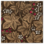 Art Nouveau Strawberries and Leaves, Dark Brown Fabric