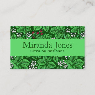 Emerald green business cards zazzle au art nouveau strawberries and leaves emerald green business card reheart Gallery