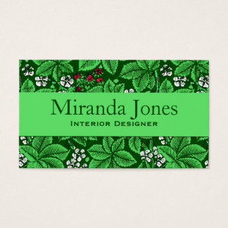 Art Nouveau Strawberries and Leaves, Emerald Green Business Card
