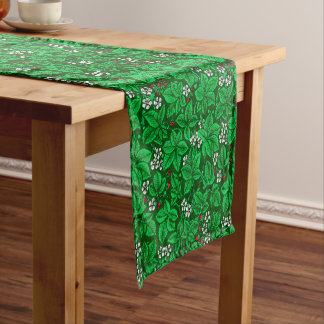 Art Nouveau Strawberries and Leaves, Emerald Green Short Table Runner