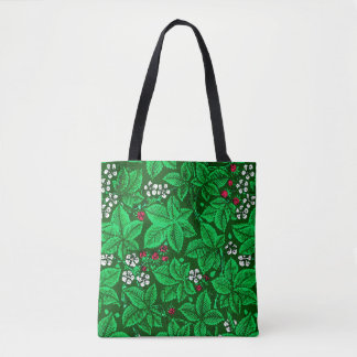 Art Nouveau Strawberries and Leaves, Emerald Green Tote Bag