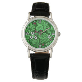 Art Nouveau Strawberries and Leaves, Emerald Green Watch