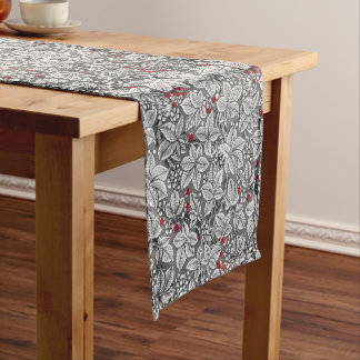 Art Nouveau Strawberries and Leaves, Gray & White Short Table Runner