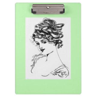 Art Nouveau Style Portrait Lady 1917 green Clipboards