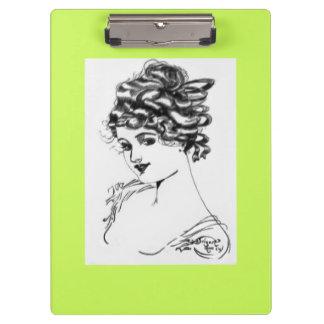 Art Nouveau Style Portrait Lady 1917 pear Clipboards
