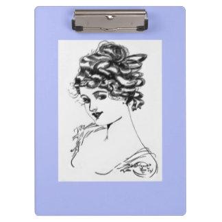 Art Nouveau Style Portrait Lady 1917 periwinkle Clipboard