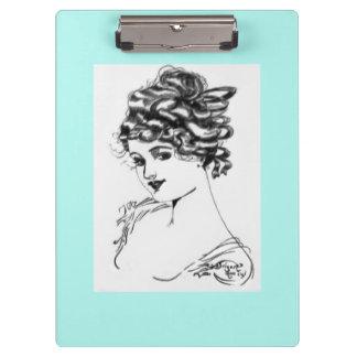 Art Nouveau Style Portrait Lady 1917 teal Clipboards