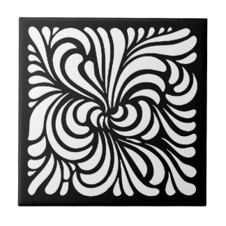 Art Nouveau Stylized Leaves, Black and White Tile