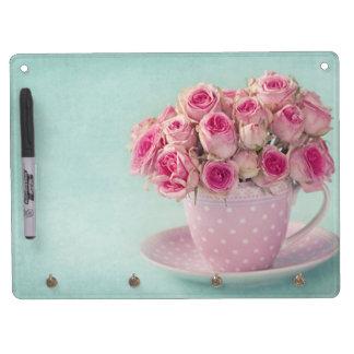 Art nouveau,teal,beige,floral,belle époque,vintage dry erase board with key ring holder