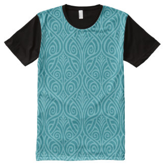 art nouveau, teal,green,art deco, vintage,damask,f All-Over print T-Shirt
