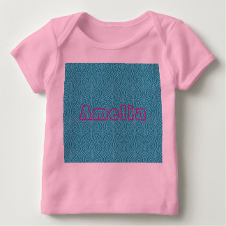 art nouveau, teal,green,art deco, vintage,damask,f baby T-Shirt