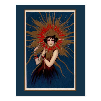 Art Nouveau The Lady in the Sun Postcard