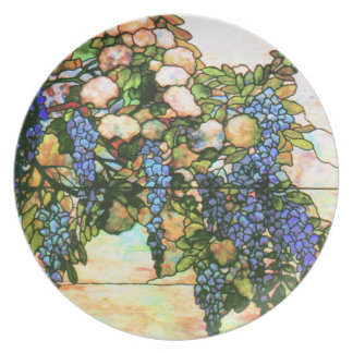 Art Nouveau Tiffany Stained Glass Nature Dinner Plates