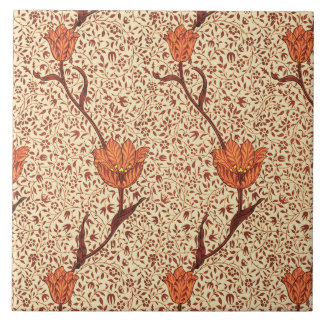 Art Nouveau Tulip Damask, Coral and Beige Tile