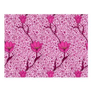 Art Nouveau Tulip Damask, Wine & Fuchsia Pink Postcard