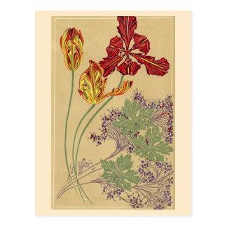 Art Nouveau Tulips Postcard