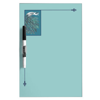 Art Nouveau Turquoise Peacock Dry Erase Board