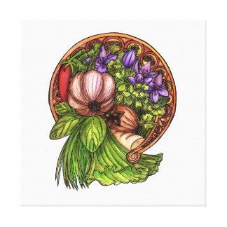 Art nouveau vegetables canvas print