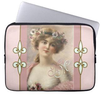 Art Nouveau Vintage Nostalgic Victorian Lady Laptop Sleeve