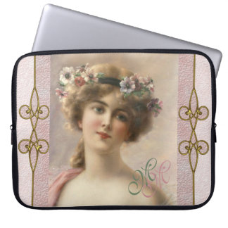 Art Nouveau Vintage Nostalgic Victorian Woman Laptop Sleeve