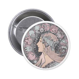 Art Nouveau Vintage Woman Pinback Buttons