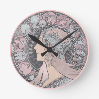 Art Nouveau Vintage Woman Round Clock