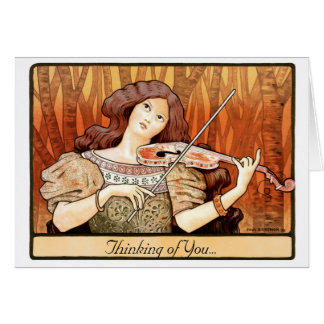 Art Nouveau Violin Girl Card