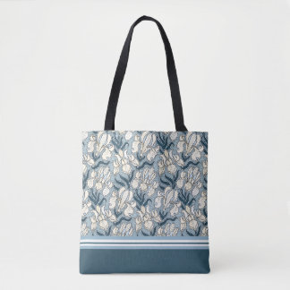 Art Nouveau White Iris Design Tote Bag